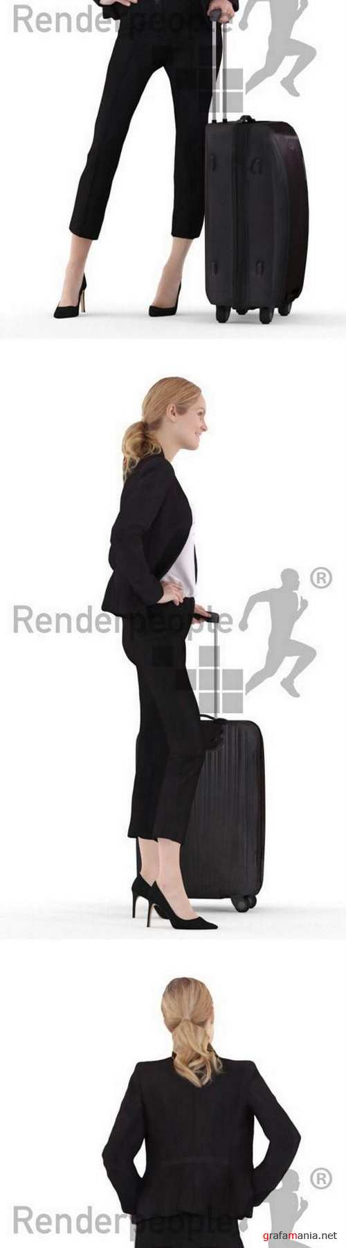 Business lady with luggage Full Body scanned 3d model