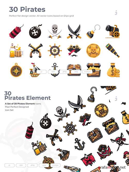 30 Pirates Element Vector Icons