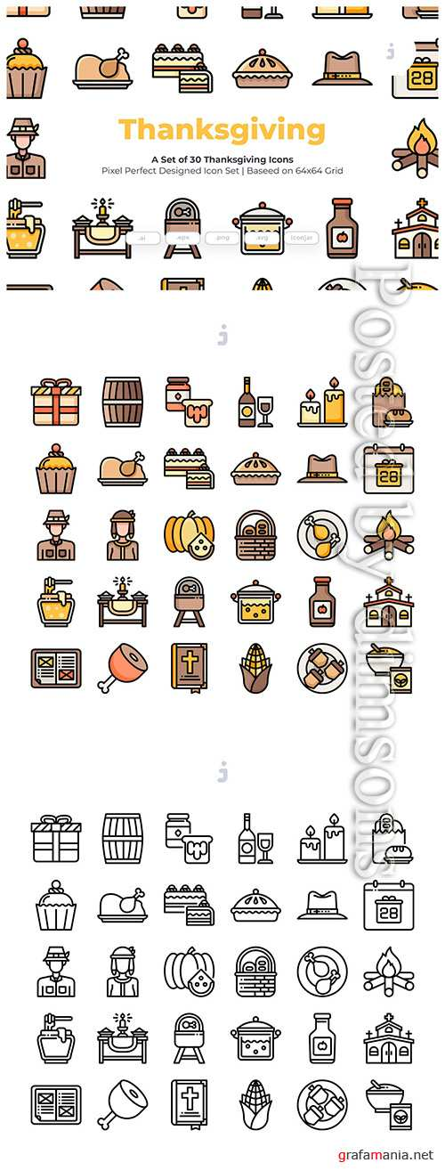 30 Thanksgiving Vector Icons