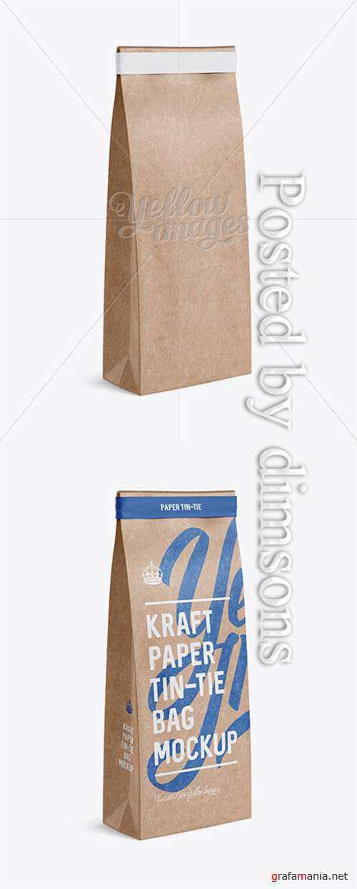 Kraft Paper Bag w/ a Paper Tin-Tie Mockup - Halfside View 13226 TIF