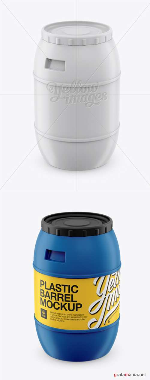 100L Plastic Barrel Mockup - High-Angle Shot 12908 TIF