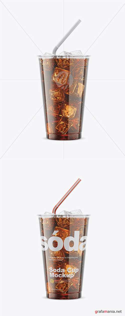 Transparent Plastic Soda Cup With Ice Mockup 33225 TIF