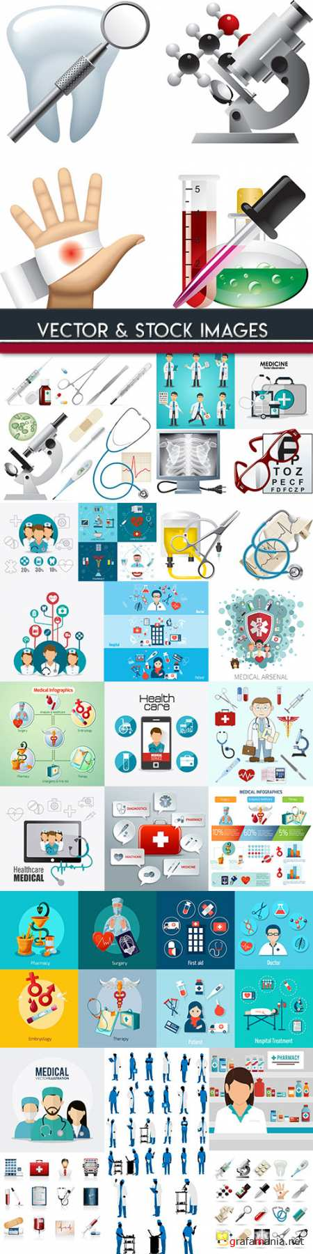 Medical infographics options elements collection 94