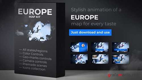 VH - Map of Europe with Countries - Europe Map Kit 24376111