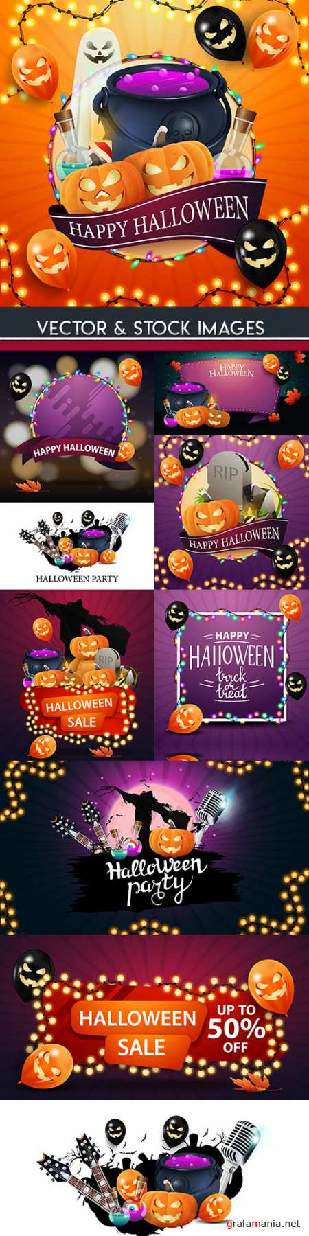 Happy Halloween holiday illustration collection 30