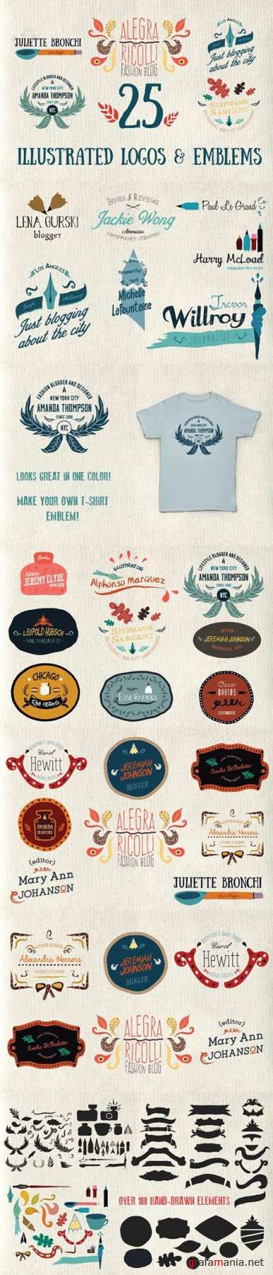 25 Illustrated logos and emblems