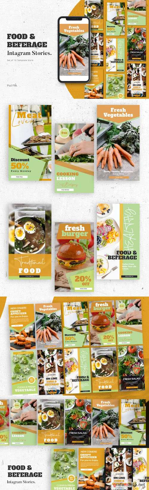 Food & Beferage Instagram Stories Template PSD