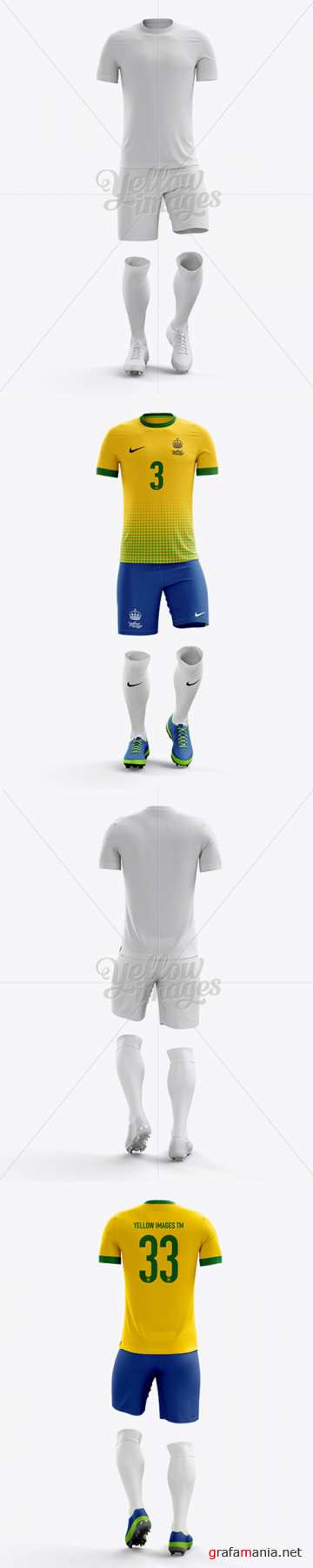 Mens Full Soccer Kit Mockup - Front View 13878 and Back View 10440 TIF