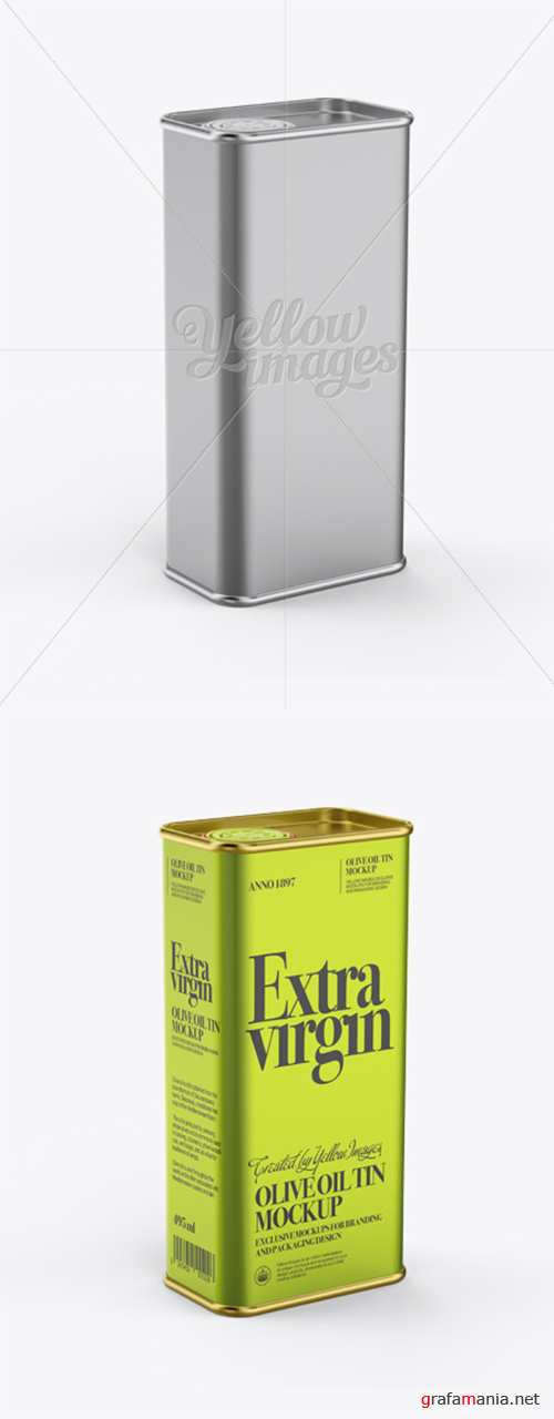 Olive Oil Tin Can Mockup - Half-Side View 12321 TIF