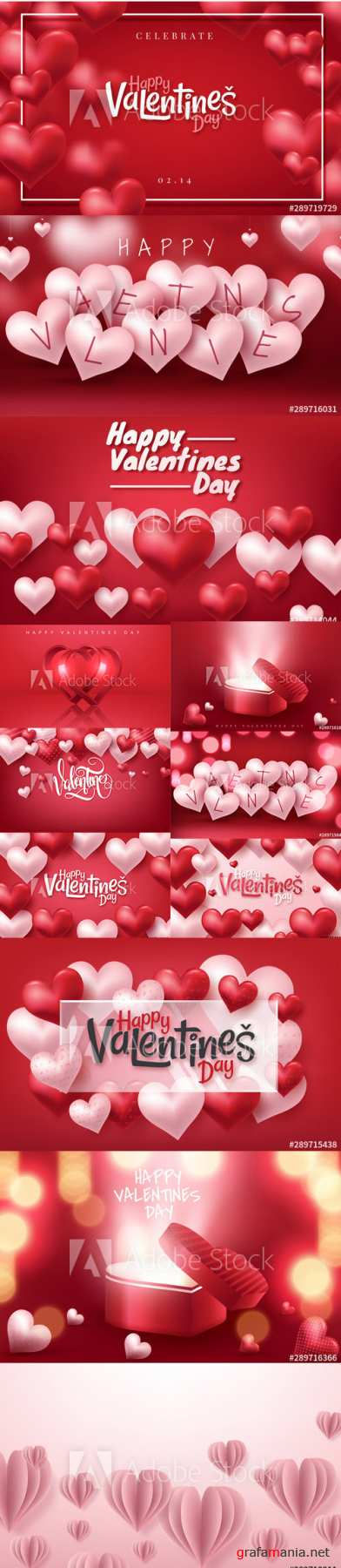 Colorful Happy Valentines Day Illustration with 3D hearts 2