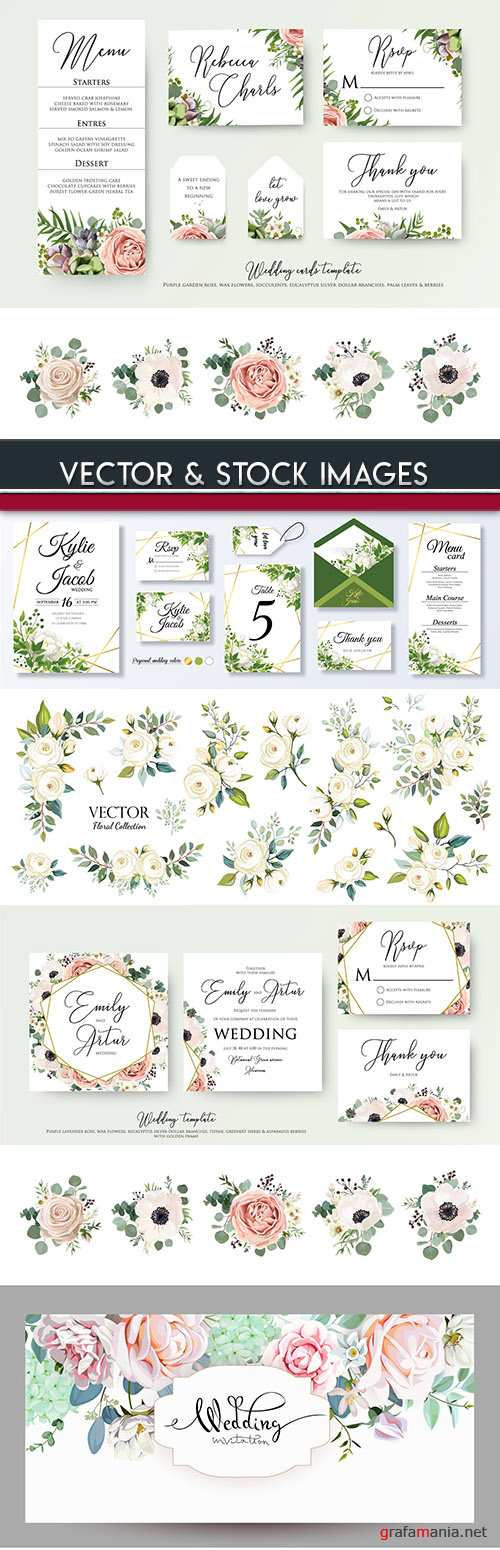 Wedding decorative vintage elegant design elements