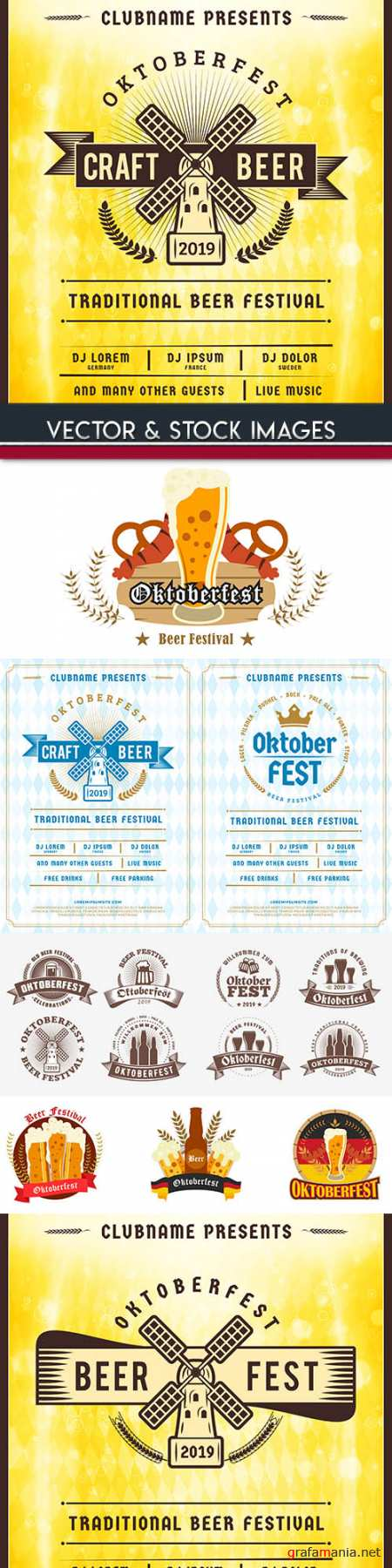 Oktoberfest festival beer labet vintage illustration 2