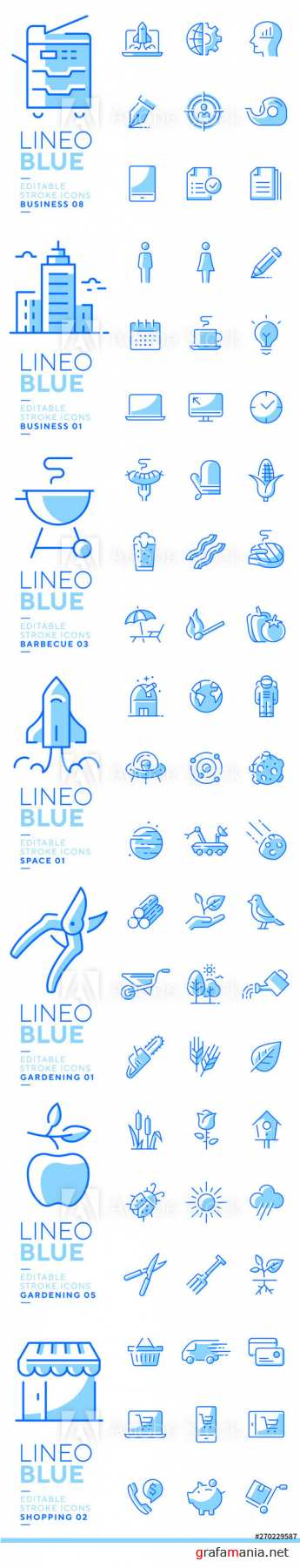 Lineo Blue - Line Vector Icons Pack Vol 5