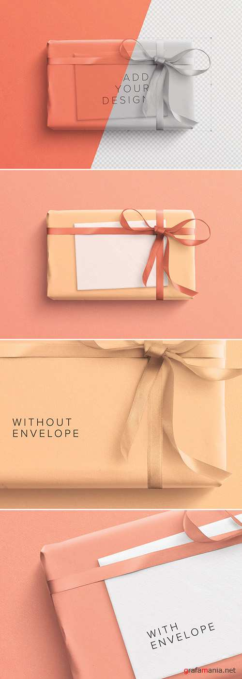 Wrapped Gift Box and Envelope Mockup 251907540 PSDT