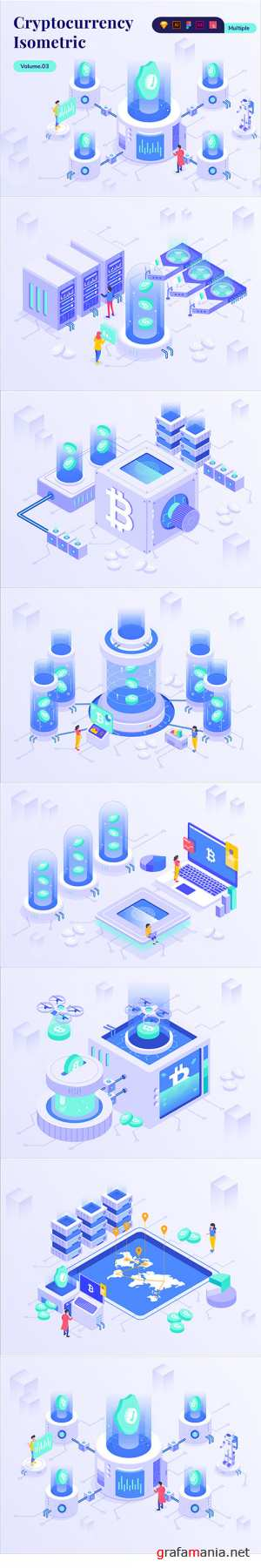 Cryptocurrency Business Isometric Vector Kit Vol.03