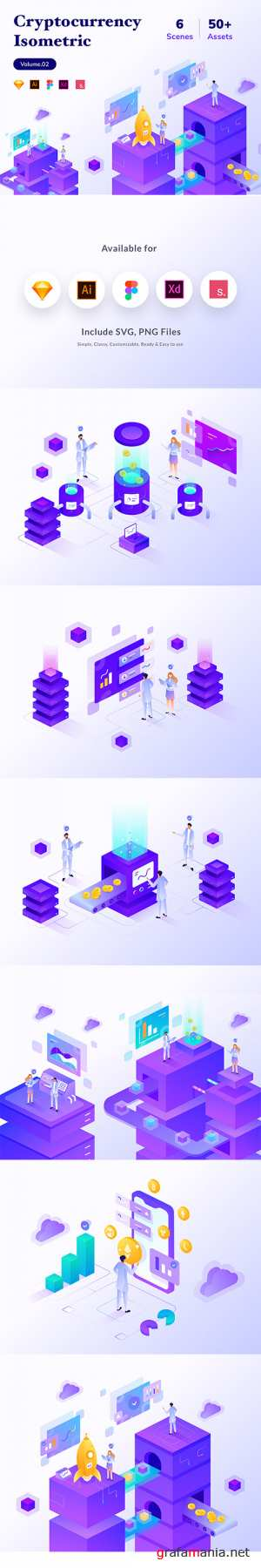 Cryptocurrency Business Isometric Vector Kit Vol.02