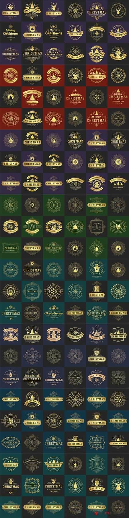 Christmas vector typography ornate labels and badges, happy new year and