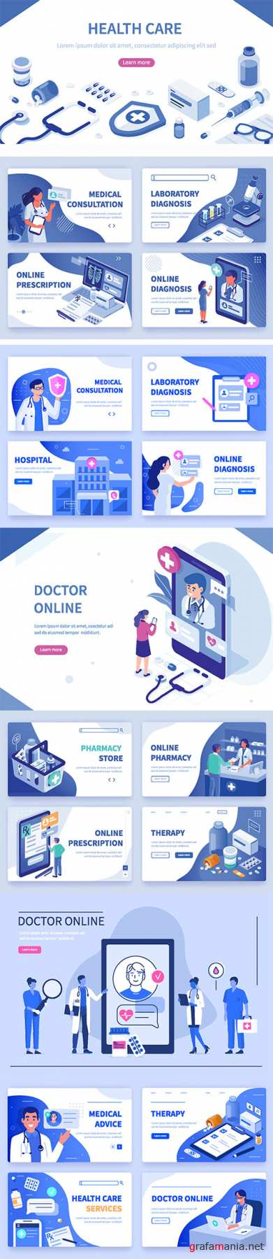 Medical flat isometric vector concept illustration