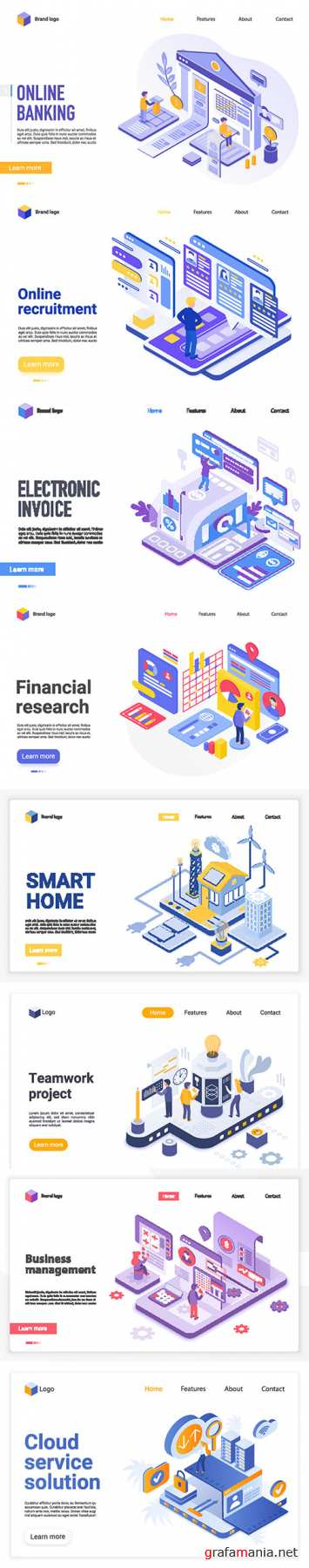 Isometric illustration, vector web banner 3D concept