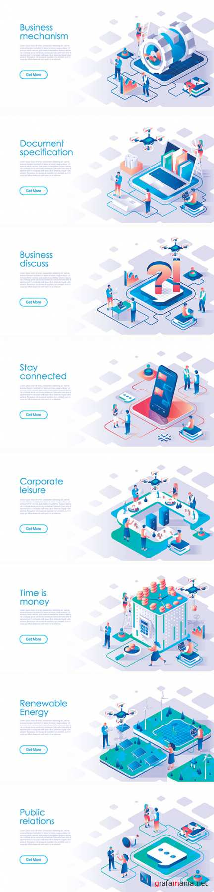 Business scheduling isometric landing page vector template