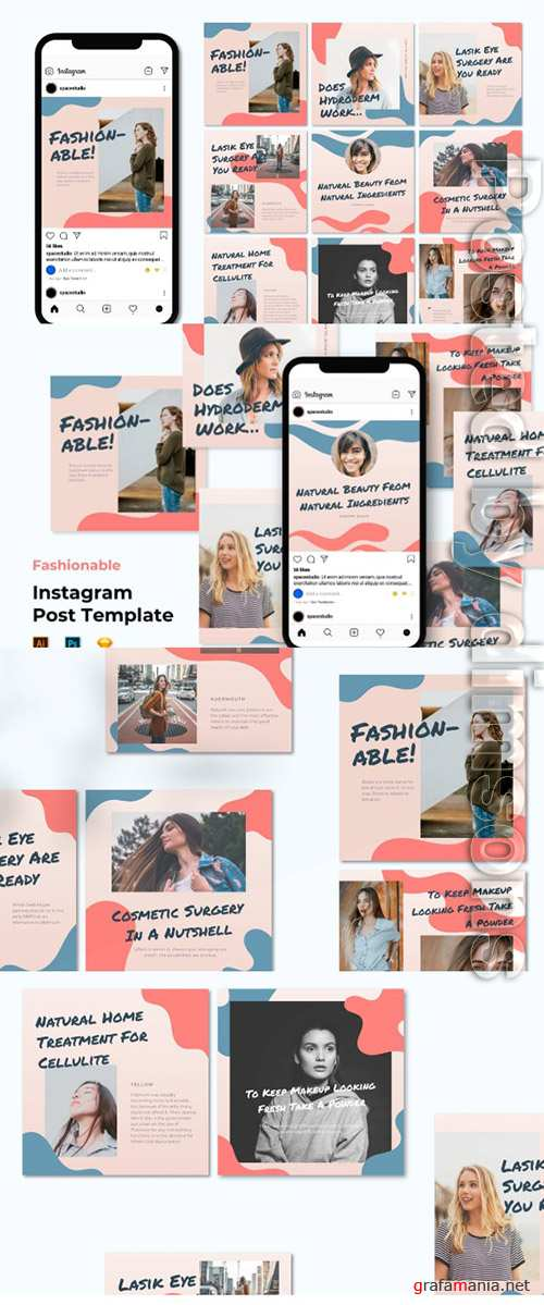 Fashion Instagram Post Template - Flat Liquid