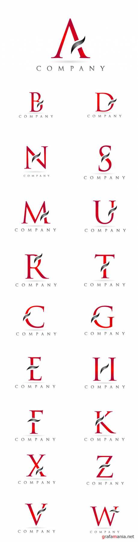 White red alphabet letter logo company icon design