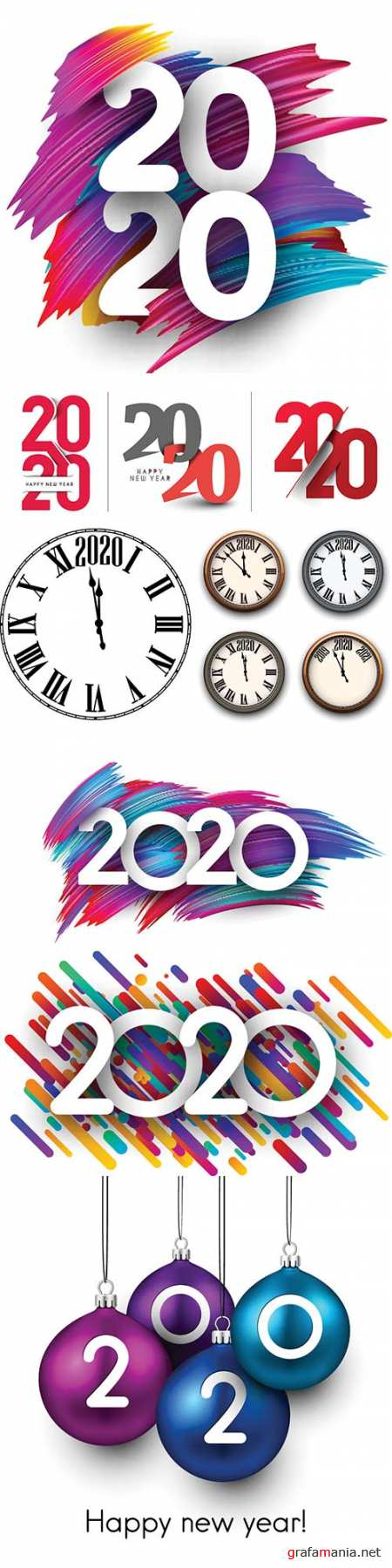 Happy New Year 2020 greeting card with color gradient