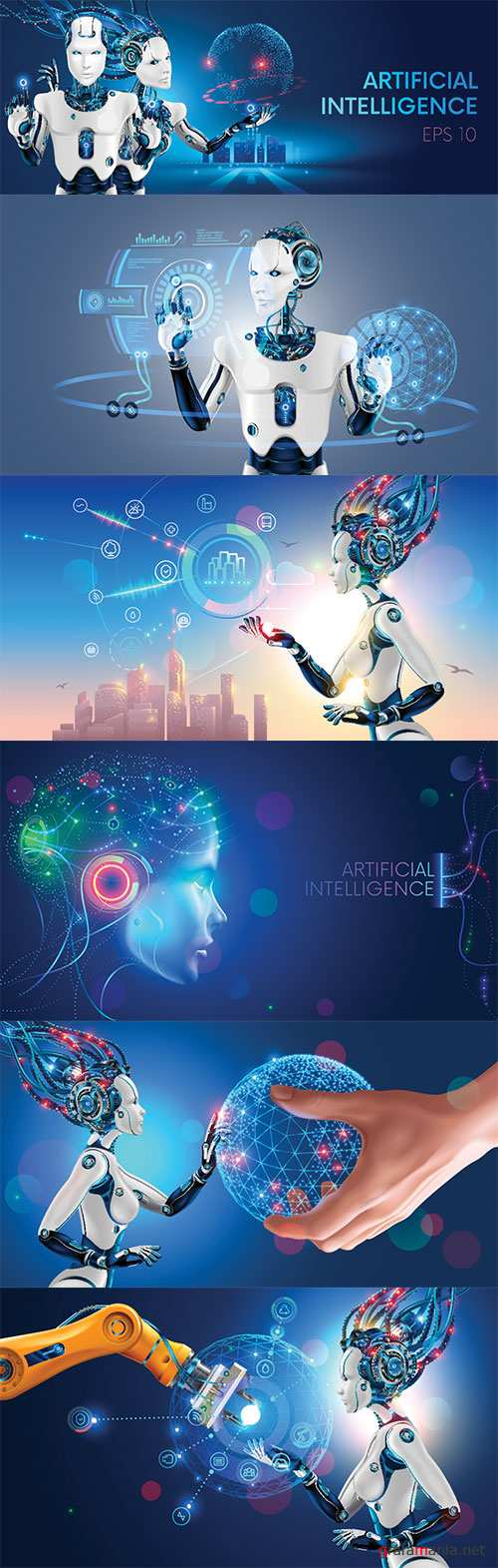 Robots man and woman with artificial intelligence working with virtual interface in cybernetic reality, 3d vector illustration