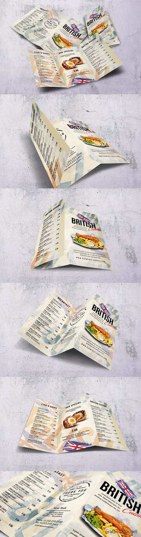 British Cuisine Trifold Food Menu PSD