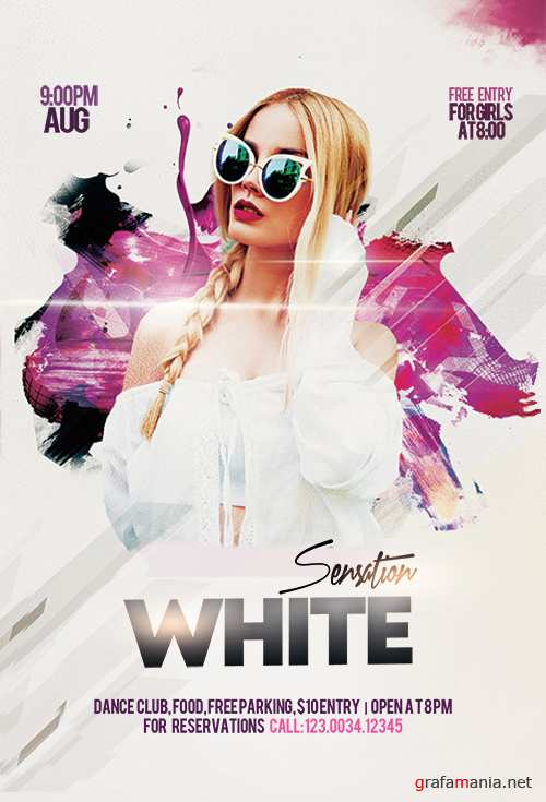 White Sensation Party PSD Flyer Template