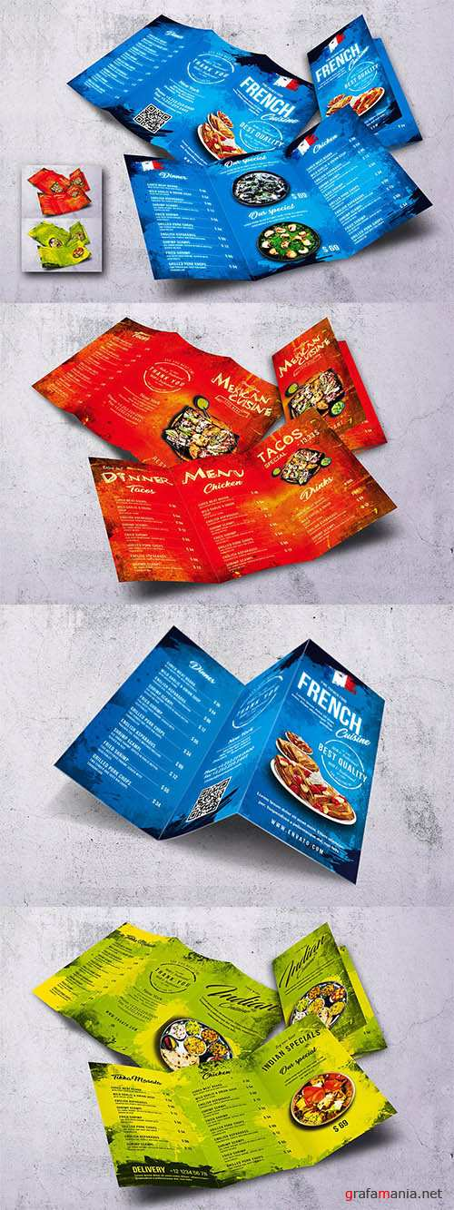 Different Countries Trifold Food Menu Bundle PSD