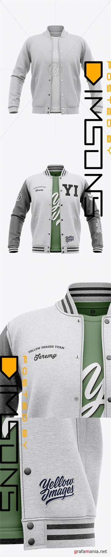 Open Heather Varsity Jacket Mockup - Front View 32393 TIF