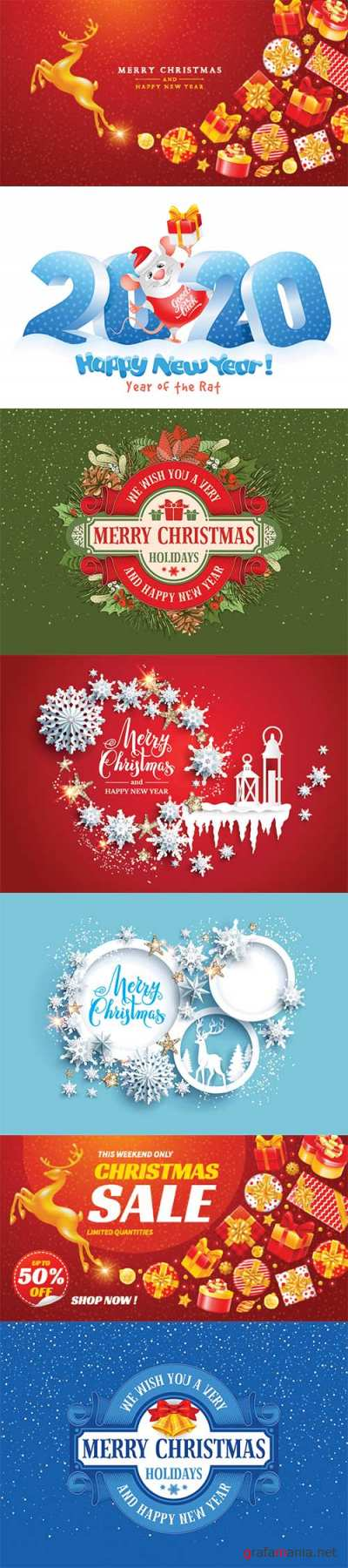 2020 Happy New Year and Christmas vector illustration