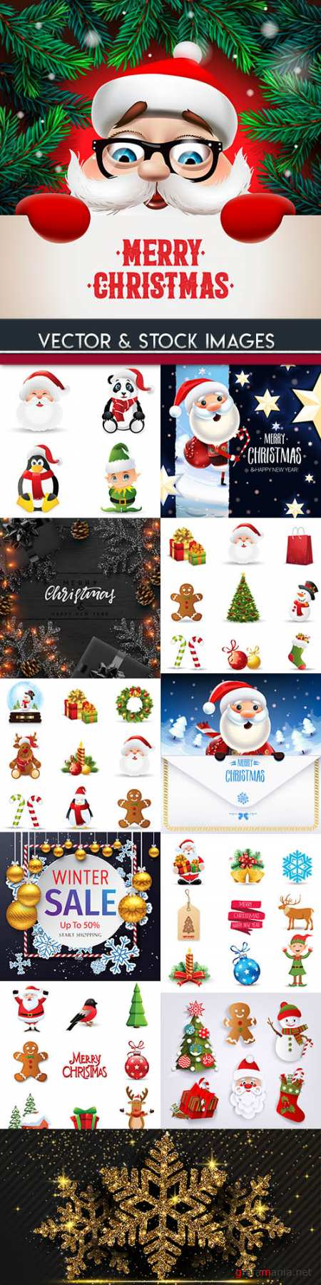Merry Christmas and New Year background decorative 16