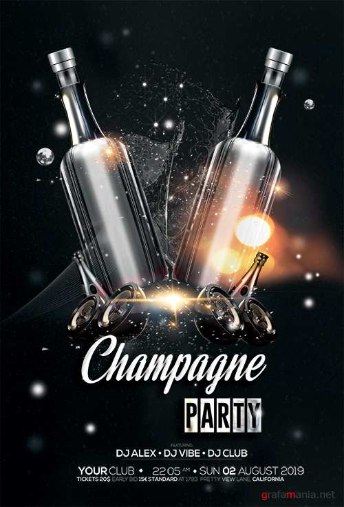 Champagne Party - Black & Gold PSD Flyer