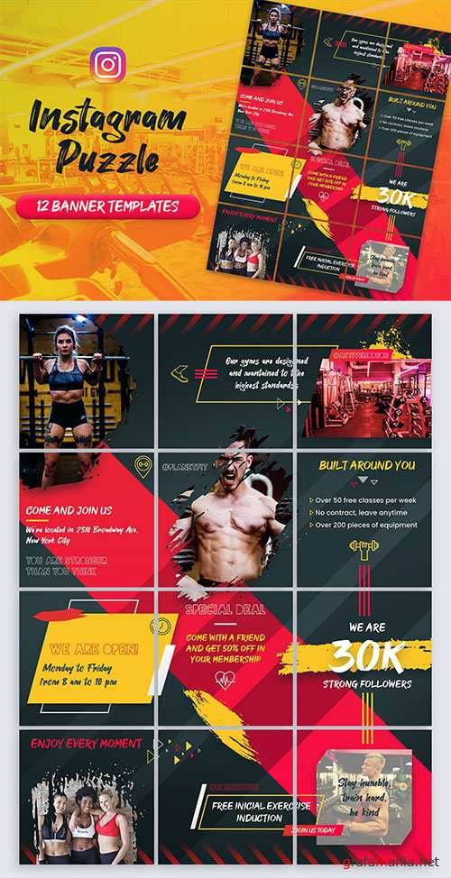 Fitness and Gym - Instagram Puzzle Banners PSD