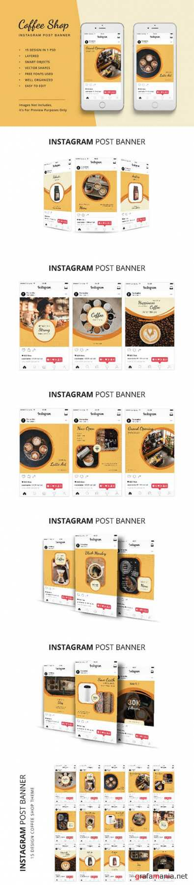 Coffee Shop Instagram Post Banner PSD