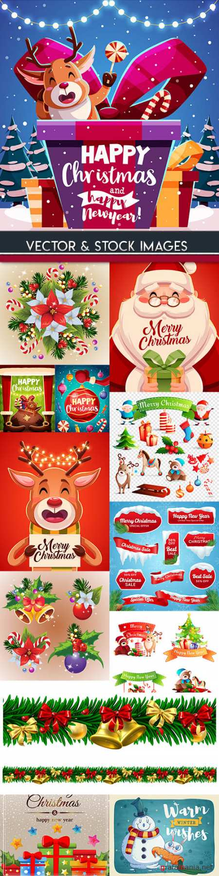 Merry Christmas and New Year background decorative 19