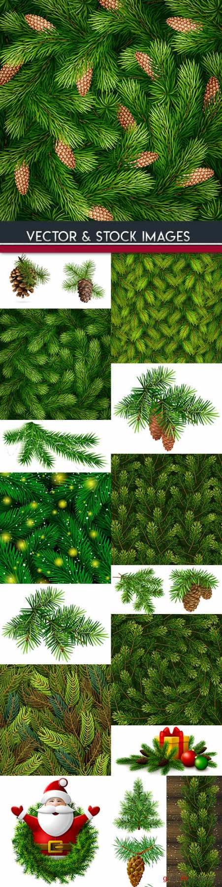 Christmas Tree branches New Year's decoration pattern