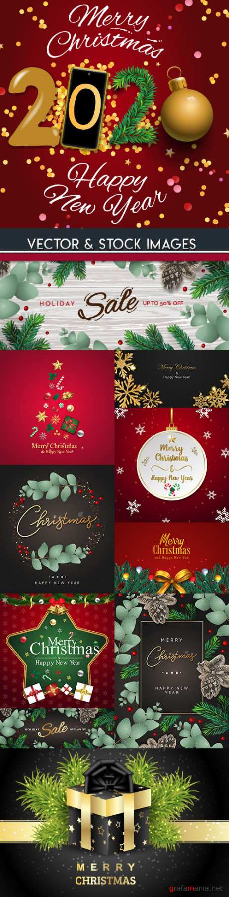 Merry Christmas and New Year background decorative 18
