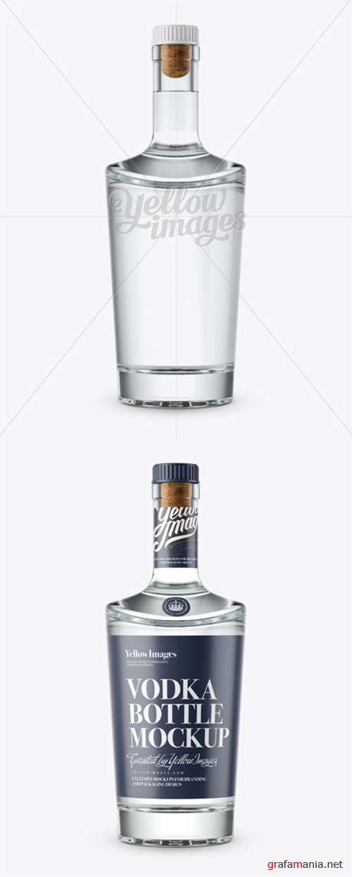 Clear Glass Vodka Bottle Mockup - Front View 12121 TIF