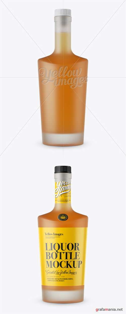 Frosted Bottle W/ Orange Liquor Mockup - Front View 12116 TIF