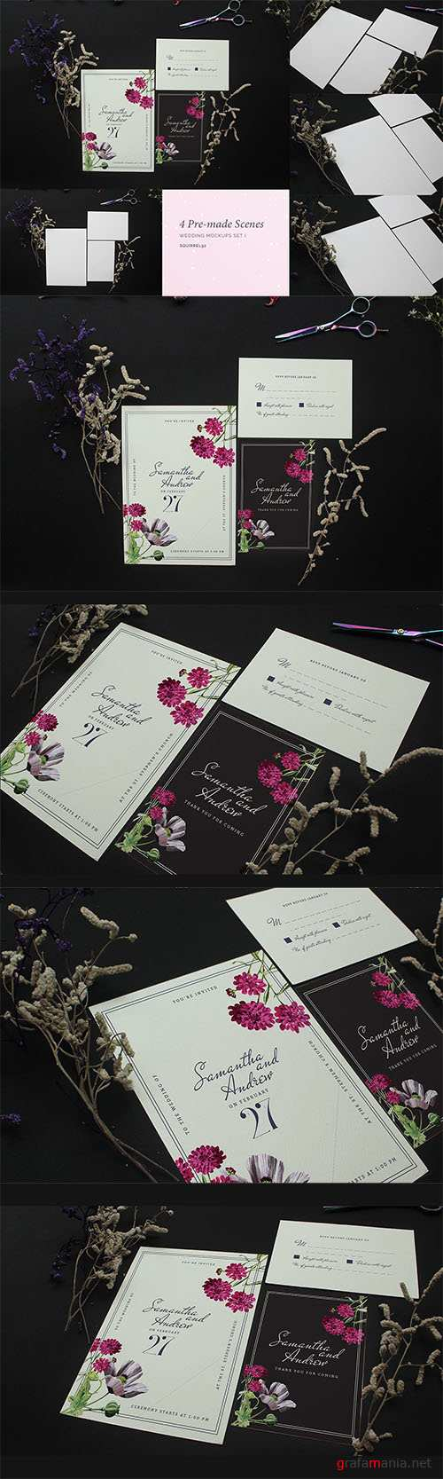 Wedding Invitation Mockup Set I PSD