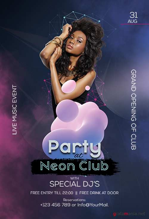 Neon Club Party - Premium flyer psd template