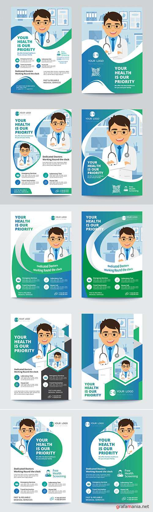 Medical flyer vector template
