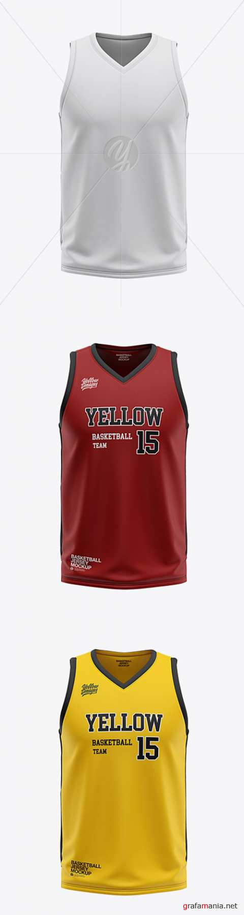Mens V-Neck Basketball Jersey Mockup - Front View 36056
