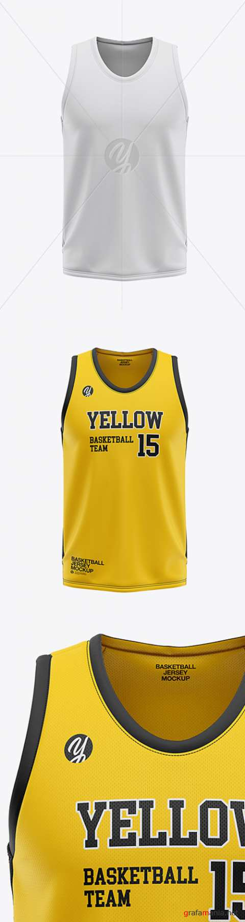 Mens U-Neck Basketball Jersey Mockup - Front View 36120