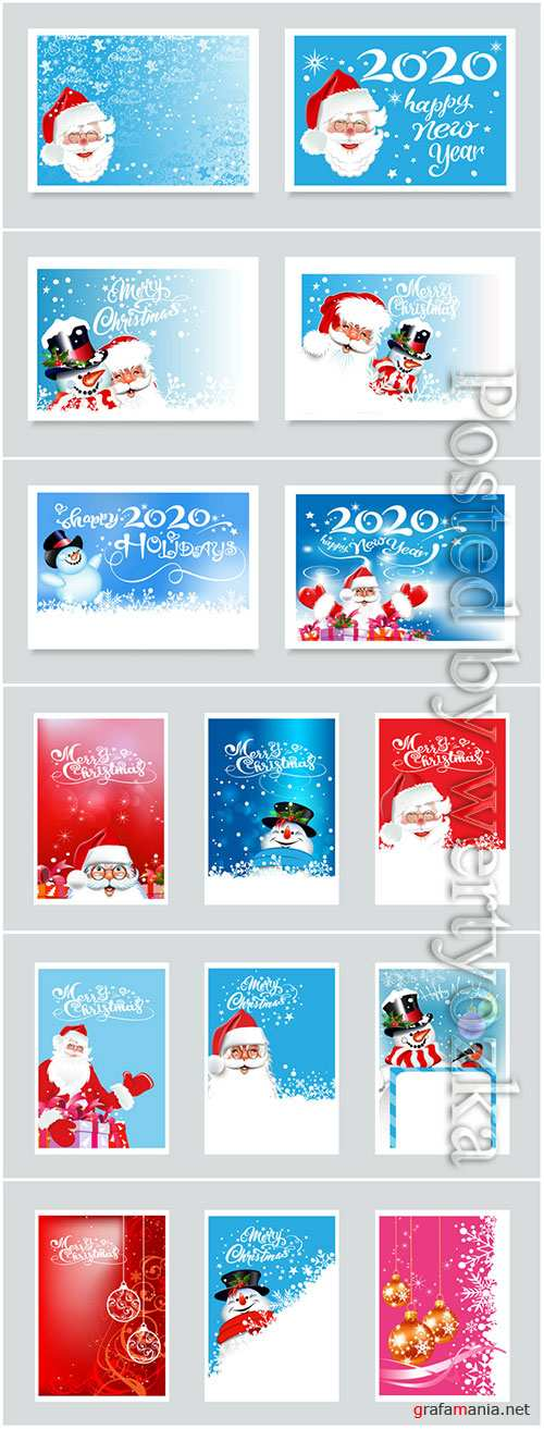 New Year holiday cards with Santa Claus and snowman
