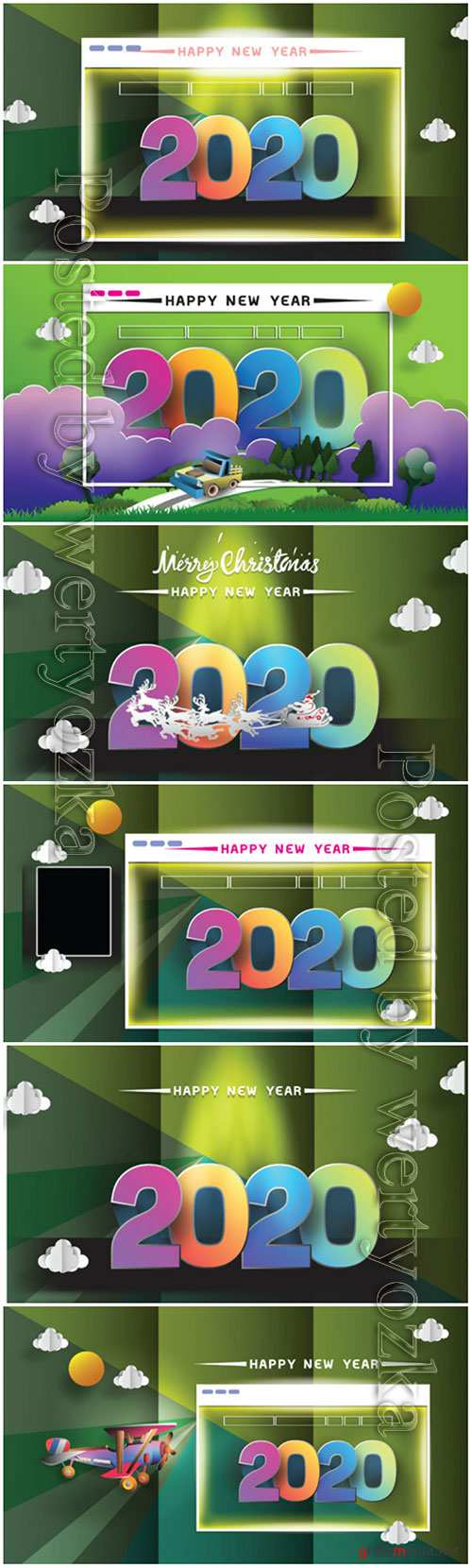 2020 New Year holidays cards, Christmas greetings invitations