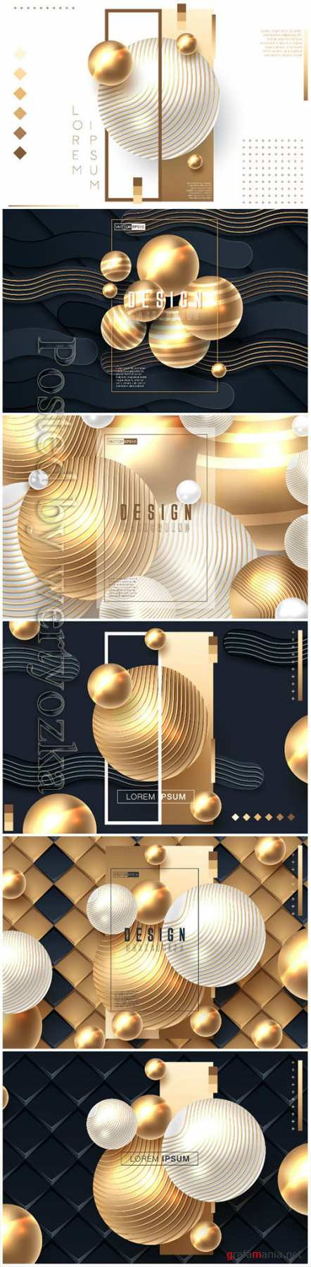 Abstract background with spheres in gold and black color